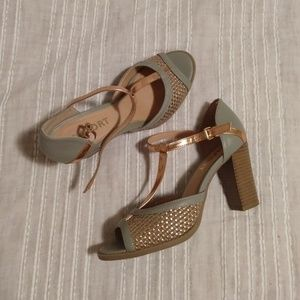 Report mint green and rose gold heels